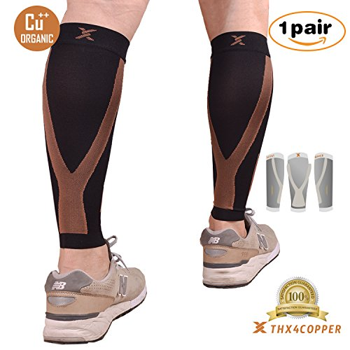 Thx4 Copper Calf Compression Sleeve(20-30mmHg) for Men & Women, Shin Splint Leg Compression Calf Sleeve- Great for Running, Cycling, Travelling- Improve Circulation and Recovery.