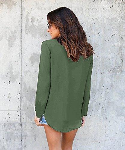 Donna Elegante Chiffon Maglietta Collo V Maniche Lunga Senza Spalline Moda T-Shirt Loose Basic Bluse Tunica Top B Verde