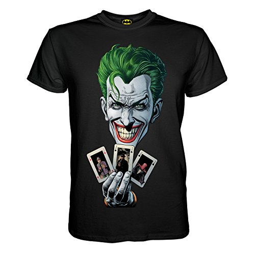 (King of Merch - Herren T-Shirt - Batman Joker Cards Poker Blind All In Full House Nuts Bluff Dark Night Harley Quinn Arkam Asylum Lex Luthor Riddler Venom Poison Ivy Wayne Enterprises Schwarz L)