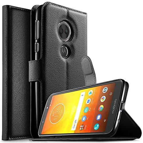 KuGi Motorola Moto E5 Plus Hülle, Moto E5 Plus Wallet Case, Brieftasche Case Hülle PU Kunstleder Flip Case mit Standfunktion Kartenfächer und Bargeld für Moto E5 Plus Smartphone.Schwarz