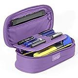 PracticOffice - Étui Ovale Multifonctionnel Megapak pour Fournitures Scolaires, Trousse de Maquillage ou Voyage. Dimension 22 cm. Couleur Violet