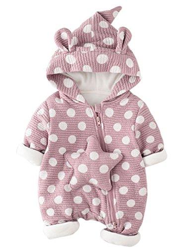 Araus pagliaccetto con cappuccio da bimbo caldo bambina romper baby tutina cotone per primavera autunno 0-12 mesi