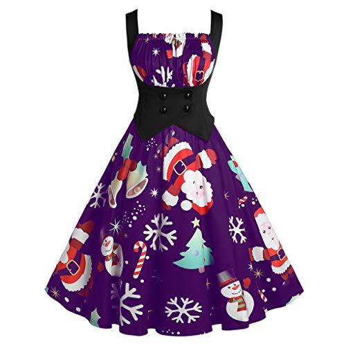 KPILP Damen Weihnachten Kleider Karneval Kostüm Schulterfreies Partykleid A-Linie Swing Kleid Dress Festlich Cocktailkleid Abendkleid Retro Gedruckt Ärmellos Knielang Ballkleid