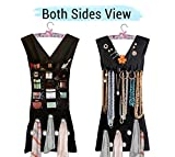TIED RIBBONS Double Sided Black Dress Shaped Jewelry Cosmetic Stoles Scarf Organizer with Hanger