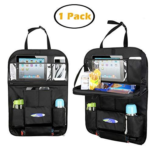 Multi-Bolsillo Organizador de Asiento Trasero Coche con Plegable Mesa Bolsa de Almacenamiento para Asiento para Tablet iPad Accesorio de Viaje para Niños (1 pack) -Duomishu