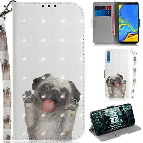 Ooboom Samsung Galaxy A7 2018 Hülle 3D Magnetische Flip PU Leder Schutzhülle Handy Tasche Case Cover Ständer mit Trageschlaufe für Samsung Galaxy A7 2018 - Hund