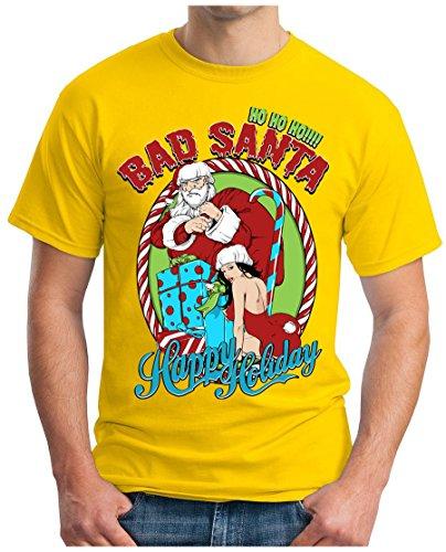 OM3 - BAD-SANTA - T-Shirt XMAS MERRY CHRISTMAS HO HO HO!!! HAPPY HOLIDAY SEXY, S - 5XL Gelb
