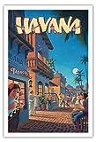 Pacifica Island Art Havanna, Kuba - Vintage Retro Welt Reise Plakat Poster von Kerne Erickson - Kunstdruck - 76cm x 112cm