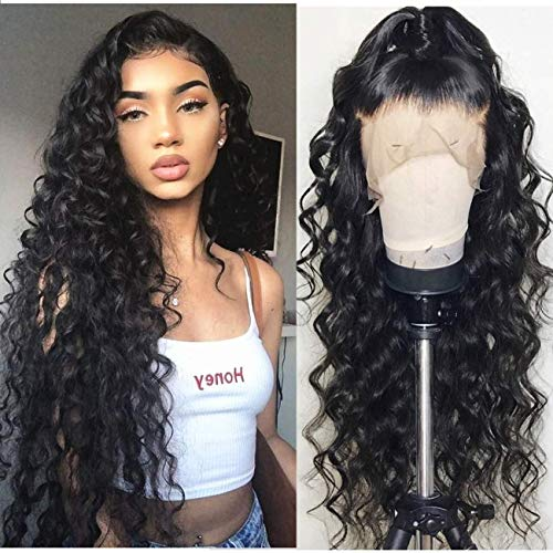 Neflyon 360 Lace Frontal Perücke Loose Wave Human Hair Perücken with Baby Hair Pre Plucked Hairline for Black Women 150% Density Natural Color 22 inch -