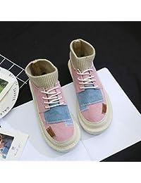 Zapatos de lona para mujer, diseño coreano de la versión salvaje, color blanco, de algodón, color rosa y rojo