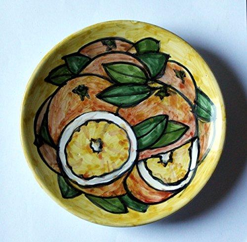 Orangen-Keramik Teller von Hand verziert, Durchmesser 16 cm hoch 2,5 cm.MADE in Italien Toskana Lucca. Erstellt von Davide Pacini. Aus Keramik
