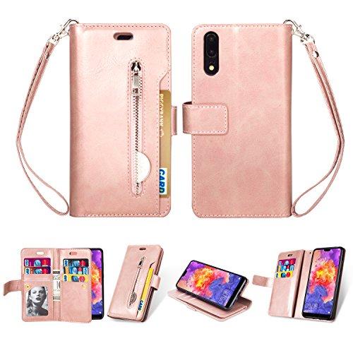 KANTAS Huawei P20 Case Hülle, Brieftasche Flip Case Geldbörse mit 9 Kartenfächer PU Leder Handyhülle Taschenhülle Ledertasche mit Magnet Standfunktion Geldbeutel Schutzhülle mat Handseil, Rose Gold
