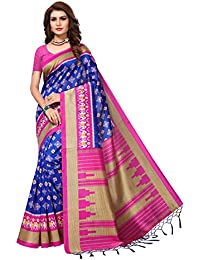 AKHILAM Women's Art Silk Saree with Unstitched Blouse Piece (Multi-Coloured_Free Size)