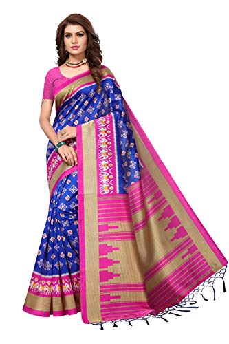 AKHILAM Women\'s Art Silk Saree with Unstitched Blouse Piece (Blue_Free Size)