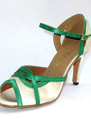 Dimensions shangyi gefertigter Paragraphe–Satin–Latin/Chaussures de danse salsa/Standard–Femme Beige - beige