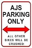 aersing A.J.S. Parking Only Aluminium Metall Schilder Funny Dekorative Outdoor Motorrad Parking Wand...
