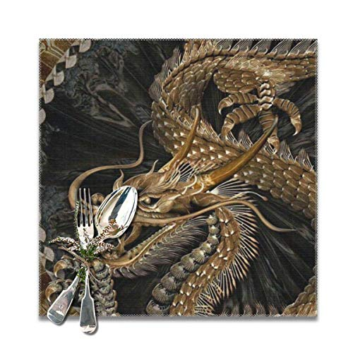 Metal Dragon Dark RetroDecorative Polyester Tischsets Set of 6 Printed Square Plate Cushion Kitchen Table Heat-Resistant Washable Dining Room Family Children - Dragon Metal Dark