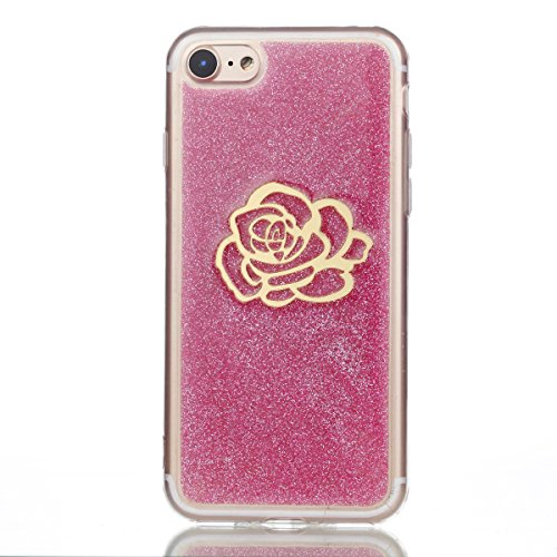 Coque iPhone 7, iPhone 8 Coque, Voguecase [Anti-Choc] [Ultra-Fine] TPU Silicone Transparent avec Bling Poudre Interne, Flexible et Souple Etui Housse pour Apple iPhone 7/iPhone 8 4.7 (Pentacle)+ Gratu Rose avec bord doré