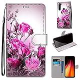 Miagon Flip PU Leder Schutzhülle für Xiaomi Redmi Note 8,Bunt Muster Hülle Brieftasche Case Cover Ständer mit Kartenfächer Trageschlaufe,Wild Rose -