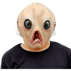 CreepyParty Máscara de Cabeza Humana de Fiesta de Traje Lujo de Halloween de Novedad Ajeno