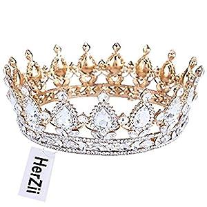 Herzii Diadem Kristall Brautschmuck, Ball, Hochzeit, Tiara, Gold und Strass