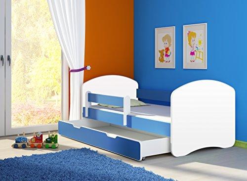 Kinderbett Jugendbett mit einer Schublade und Matratze Weiß ACMA II (180x80 cm + Schublade, Blau) (Bett-schubladen)