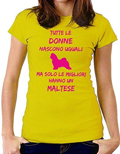 Tshirt Tutte le donne nascono uguali ma solo le migliori hanno un maltese - donne - women - dogs - fashion - humor - Tutte le taglie Giallo