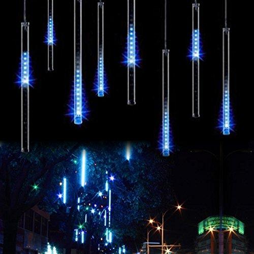 Fallende Lichter, EONANT 30cm 10 Tubes 360LEDs Solarfalllichter Meteorschauer Lichter Regen Tropfen Lichter für Bäume Parteien Hochzeit Garten Haus Dekoration (Blau)