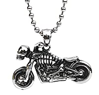 Epinki Stainless Steel Pendant Necklace, Mens Vintage Punk Rock Silver Black Skull Motorcycle Necklace