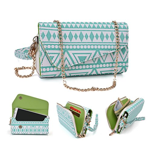 Kroo Pochette/étui style tribal urbain pour Archos 50 C Oxygen Multicolore - vert Multicolore - White with Mint Blue