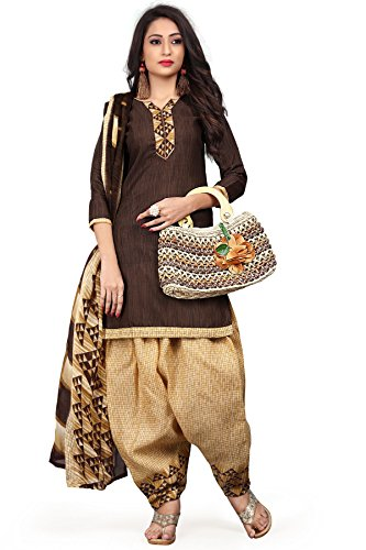 Rajnandini Women\'s Cotton Printed Patiala Unstitched Dress Material(JOPLVSM3943_Brown_Free Size)