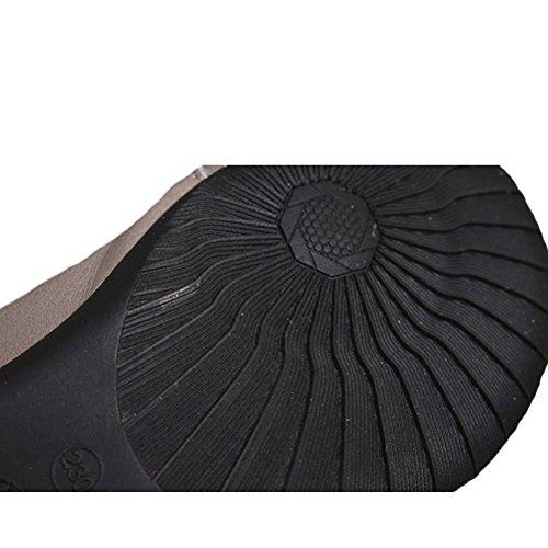MatchLife Femme Vintage Cuir Flat Creux Pantoufles Style1-Gris
