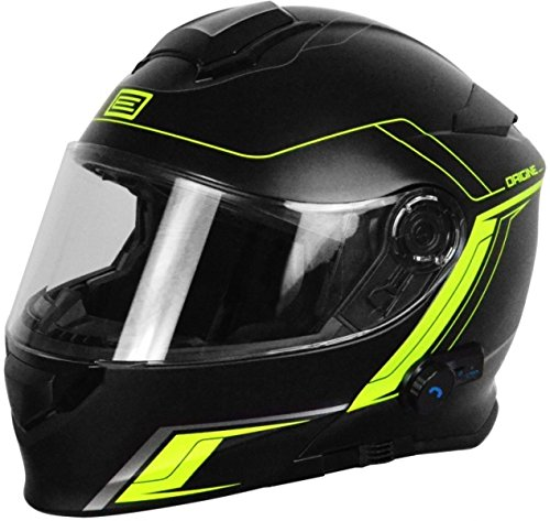 Origine Helmets Casco de moto con visera frontal abatible - Bluetooth integrado - Modelo Origine Delta Motion Black-Lime - Talla L