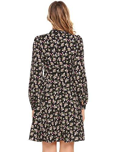 Zeela Damen Langarm Blumen Kleid Knielang Geblümtes Kleid mit Muster Abendkleid Partykleid mit Schleife Schwarz