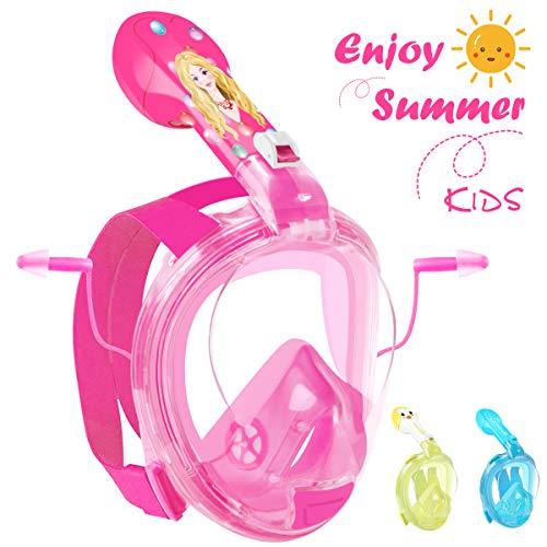 HENGBIRD Masque de Plongée Enfant Masque Snorkeling Antibuée Anti-Fuite Lunettes de Plongée Plein Visage 180° Visible Support pour Caméra Sport