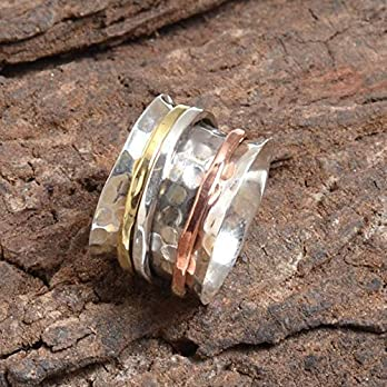 Hammered Spinner Band Rings, Anxiety Ring for Meditaion, 925 Sterling Silver Band, Brass and Copper Spinning Ring for Women, Gift Ring for Mother's Day