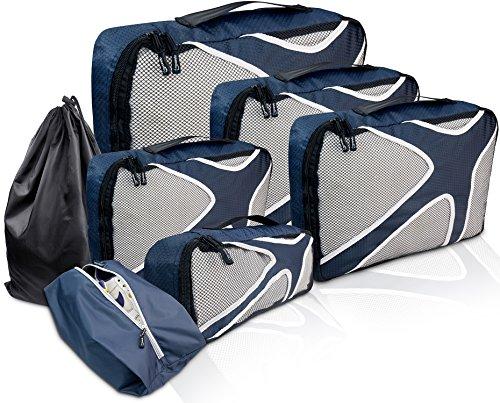 TRAVANDO ® Koffer Organizer Set 7-teilig | Packing Cubes Packtaschen Packwürfel Reisebeutel Kleidertasche Reise Taschen Reiseset Travel Koffertasche Kofferorganizer Reiseorganizer Packsystem Packen