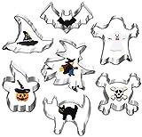 crazerop 7 STÜCKE Halloween Ausstechformen Set für Kinder Keks Ausstecher Geist, Fledermaus, Kürbis, Katze Formen Halloween Edelstahl Plätzchenform