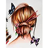 #5: 5D DIY Diamond Painting By Number Kits,Mosaic Butterfly Girl Cross Stitch Crystals Embroidery Decor