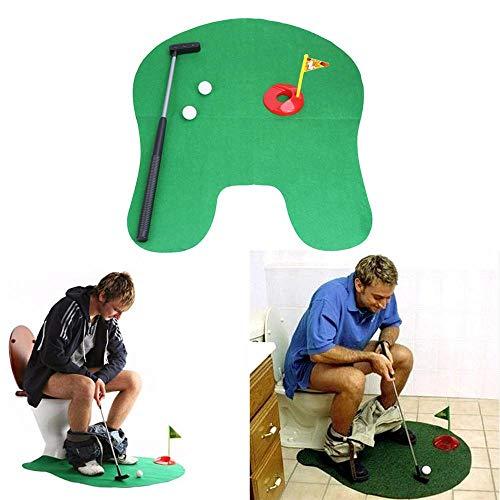 KOBWA WC-Golf, witziges Töpfchen-Putter Set WC Golf Spielzeug, Golfspiel Indoor Practice, Perfektes Mini Golf Neuheit Gag Geschenk Set für Ehemann oder Papa