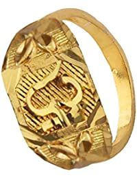 Rich & Famous Yellow Gold Alloy Om Design Ring For Men's - Free Size