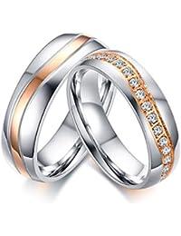 Vnox 2 piezas de acero inoxidable Banda de boda mejor cúbicos Zirconia compromiso de pareja amor anillo conjuntos