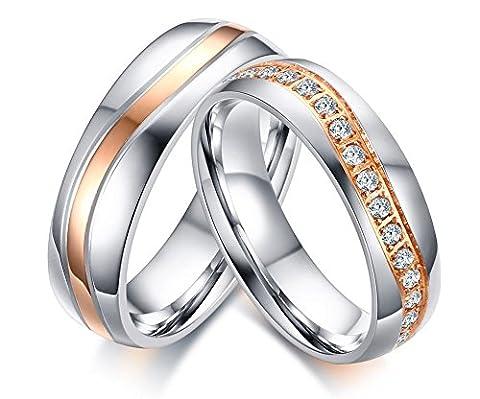Vnox 2 pièces Bague de mariage en acier inoxydable Meilleur jeu d'anneaux d'amour en zircon cubique