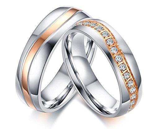 Vnox 2 Stück Edelstahl Hochzeit Band Beste Zirkonia Verlobungs Paar Liebe Ring Sets