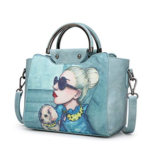 LFGCL Bags womenPrinted Shoulder Umhängetasche Simple Fashion Handbag, Aqua Blue