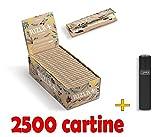 IRPot - BOX 50 LIBRETTI CARTINE RIZLA NATURA CORTE IN CANAPA + ACCENDINO CLIPPER