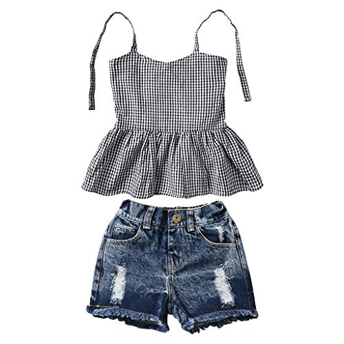 r Kleidungs Outfits Kleidung Mädchen Bekleidungsset Sling Plaid T-Shirt +Denim Shorts Loch Hosen Outfit Kleiderset ()