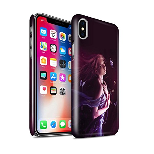 Officiel Elena Dudina Coque / Clipser Brillant Etui pour Apple iPhone X/10 / Balançoire Jardin Design / Un avec la Nature Collection Par le Vent