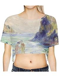 Renoir Guernsey arte pintura Loose Fit Top Recortada camiseta gimnasio Casual tamaños XS-3X L