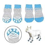 Hcpet Calcetines Antideslizantes para Perros, Protectores de Patas para Perros Gatos, Control de tracción para el Uso en Interiores, Ajuste para Perros Extra pequeños a Grandes (Azul, L)